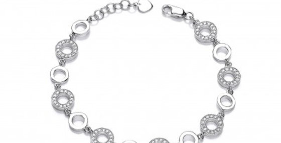 Cubic Zirconia Half and Half Polo Bracelet