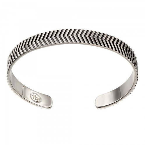 Fred Bennett - Sterling Silver Oxidised Chevron Bangle