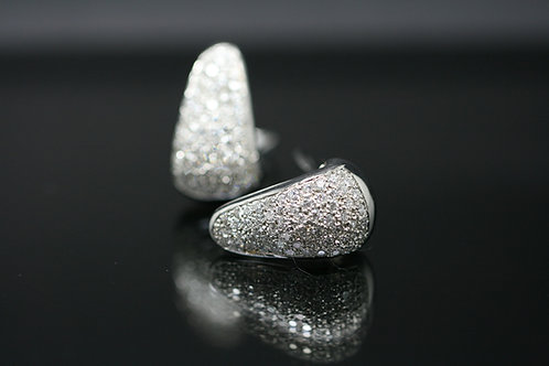 18ct White Gold Pave Diamond Earrings