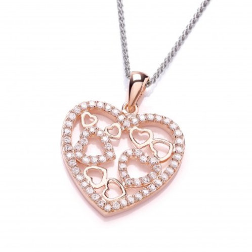 Rose Gold and Cubic Zirconia Heart Pendant without chain