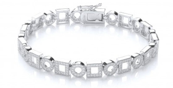 Art Deco Style Silver and Cubic Zirconia Bracelet