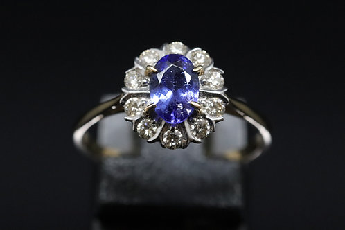 Solid Yellow Gold Tanzanite and Diamond Cluster Ring