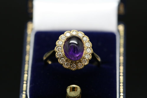 Cabochon Amethyst and Diamond Ring