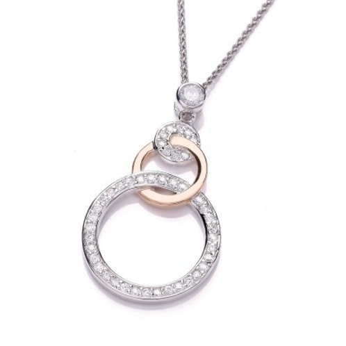 Loop the Loop Rose Gold and Cubic Zirconia Pendant without chain