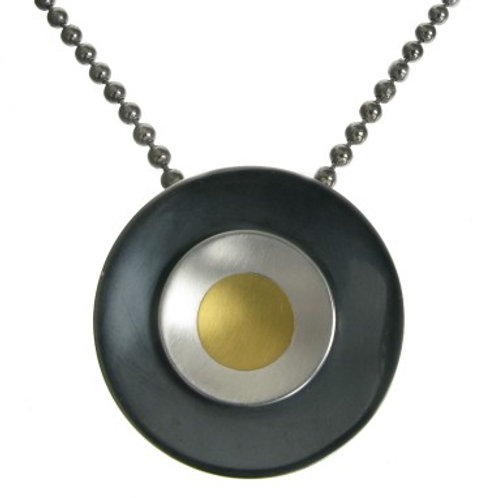 Oxidised Sterling Silver and Gold Rings Pendant without Chain