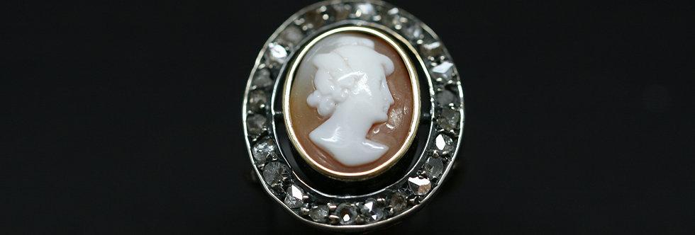 Georgian Rose Gold and 'Rose Cut'Diamond Cameo Ring