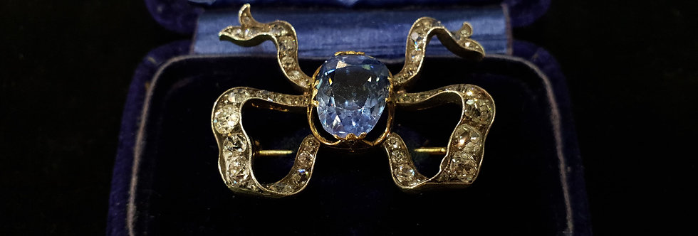 Victorian Sapphire and Diamond Bow Brooch