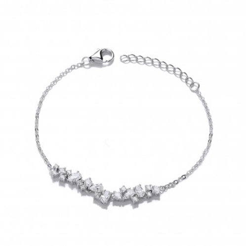 Silver and CZ Cluster Bracelet