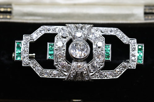 Art Deco Emerald and Diamond Brooch