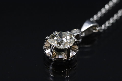 18ct White Gold Old Cut Diamond Solitaire Pendant