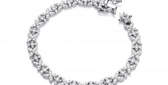 Silver and CZ Kiss Kiss Bracelet