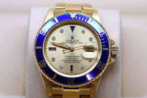 Rolex Submariner Date Solid 18ct Gold Diamond Sapphire Certi Dial