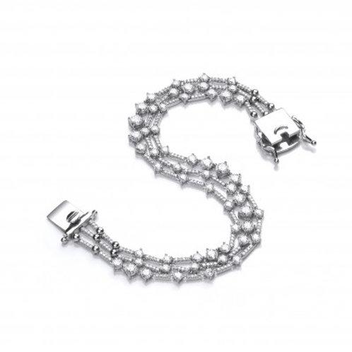 Silver and CZ Triple Strand Retro Bracelet