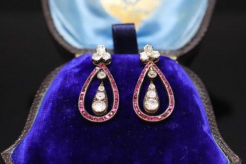 Early Victorian Ruby & Diamond Earrings