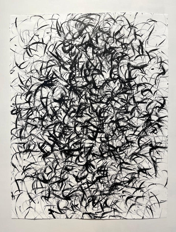 Inverse 5 (Black on White), 46x36 inches, acrylic on paper, 2021