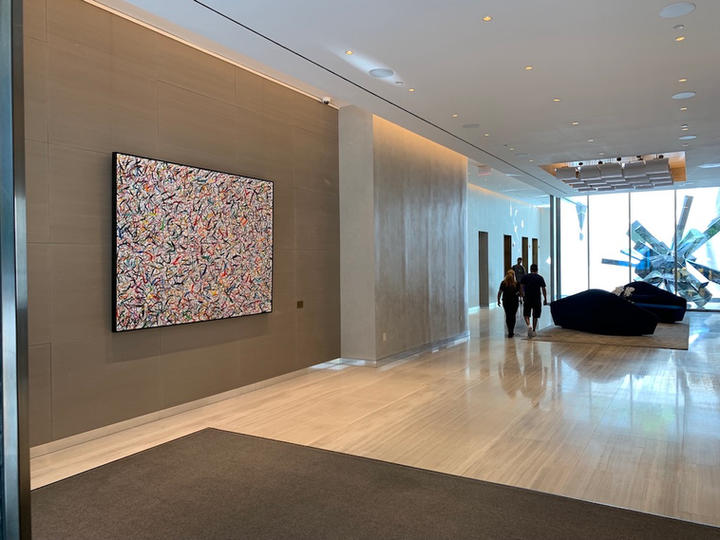 Happy 8, 72x96 inches, acrylic on canvas, Lobby of Oskar, residential building developed by The Moinian Group, 572 11th Ave, New York, NY