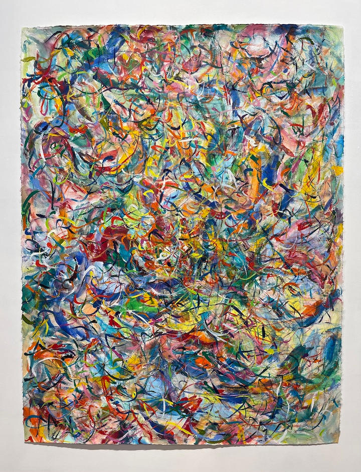 Lively 2, 46x36 inches, acrylic on paper, 2021