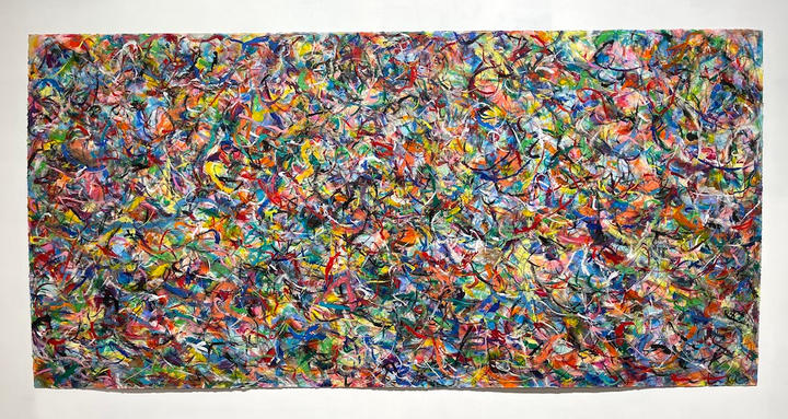 Layers, 38x74 inches, charcoal, pastel and acrylic on paper, 2021