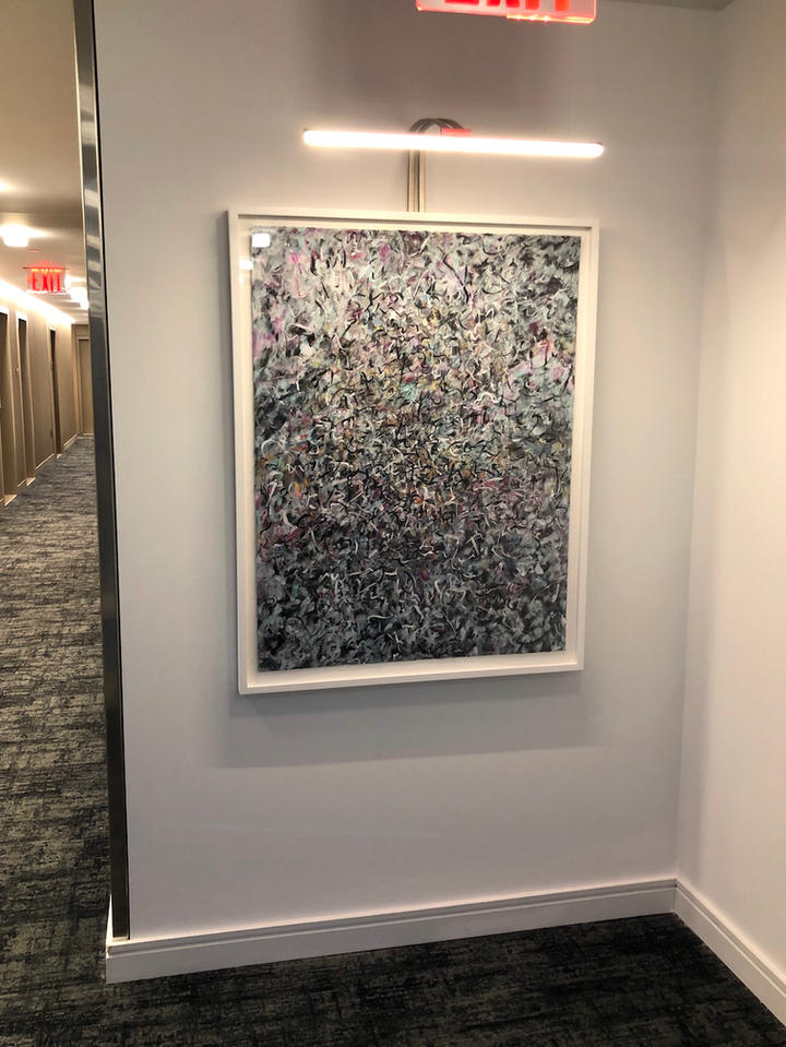 Floating in Darkness, 46x36 inches, acrylic on paper, 13th Floor of Oskar, residential building developed by The Moinian Group, 572 11th Ave, New York, NY