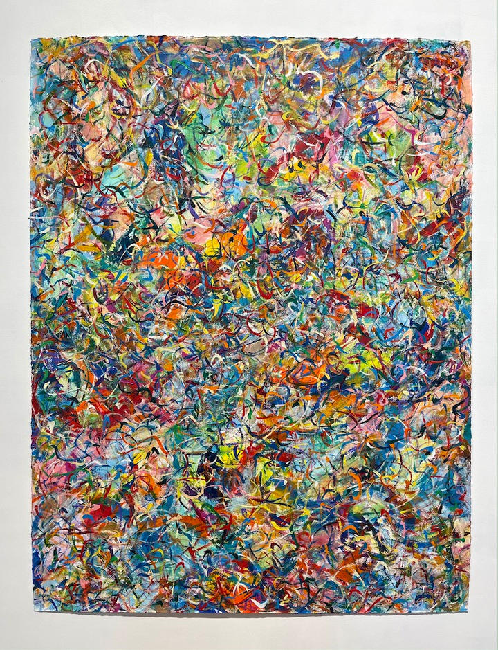 Lively, 46x36 inches, acrylic on paper, 2020