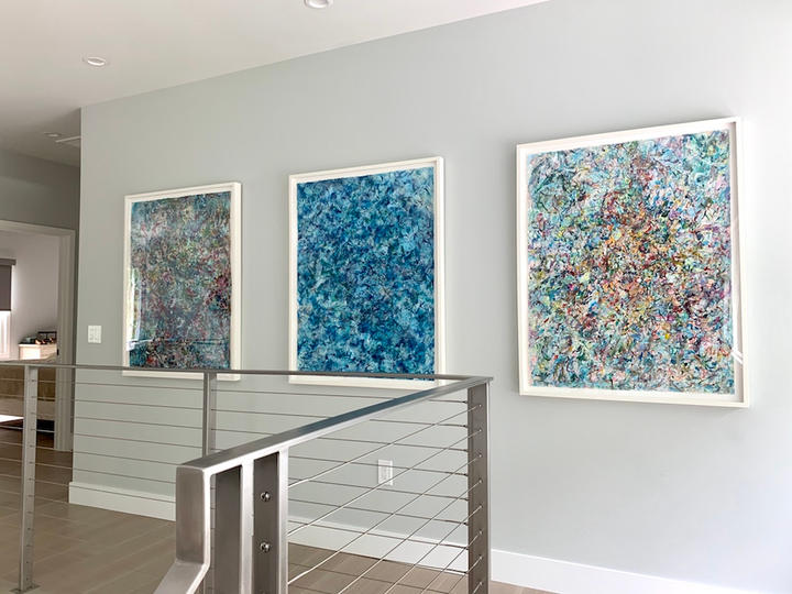 Untitled, Phosphorescent, Express (left to right), 46x36 inches, acrylic on paper, Sag Harbor, NY