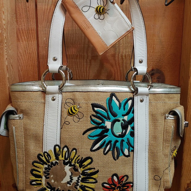Coach - bees & flowers purse