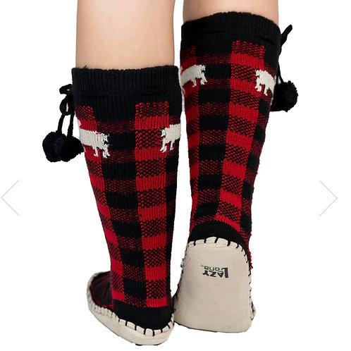 Moose Plaid Mukluk Socks