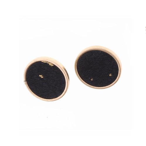 Black Cowhide Earrings