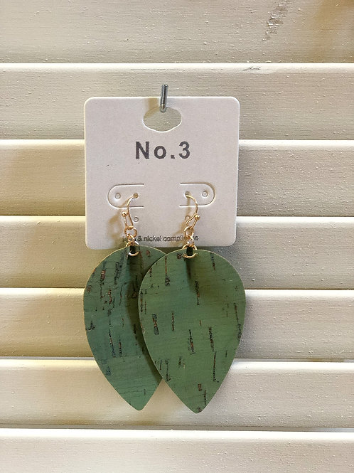 Green Cork Earrings
