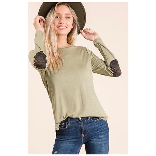 Olive Elbow Patch Top