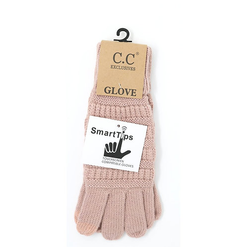 Metallic Cable Knit Gloves