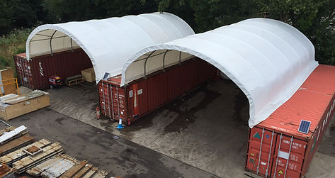 ST8C-12 Double Canopy, Small container canopy, small container shelter, sea container shelter, sea container canopy, shipping container storm shelter, shipping container shelter, shipping container canopy, Container canopy, storage container shelter, container shelters, ShelterIt, installation, waste managment shelter