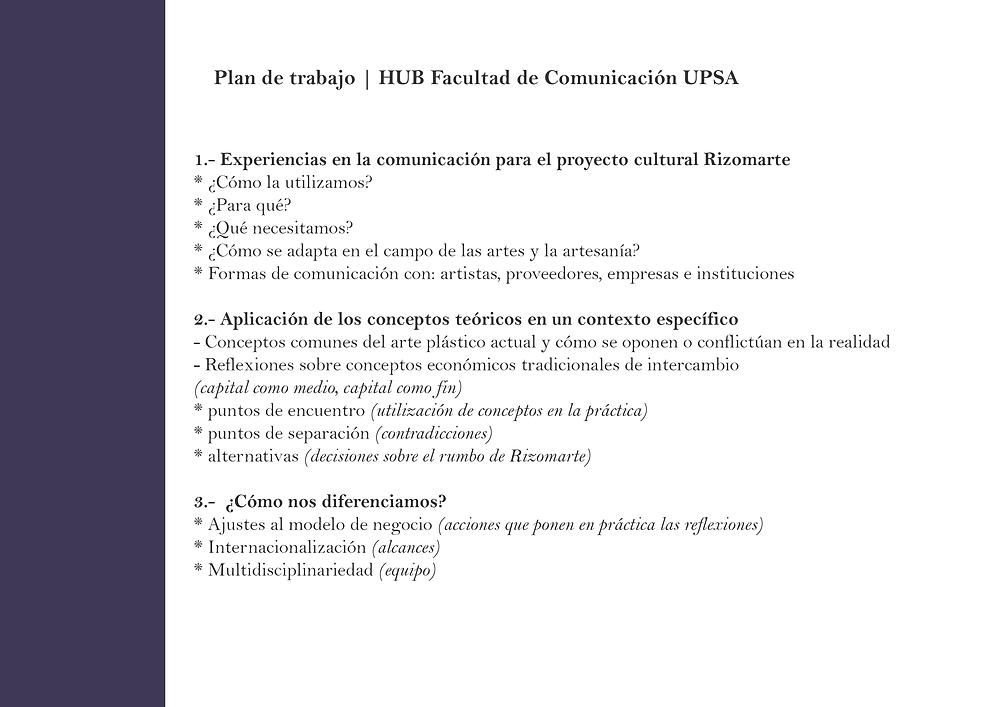 Plan de trabajo de Rizomarte para el HUB UPSA