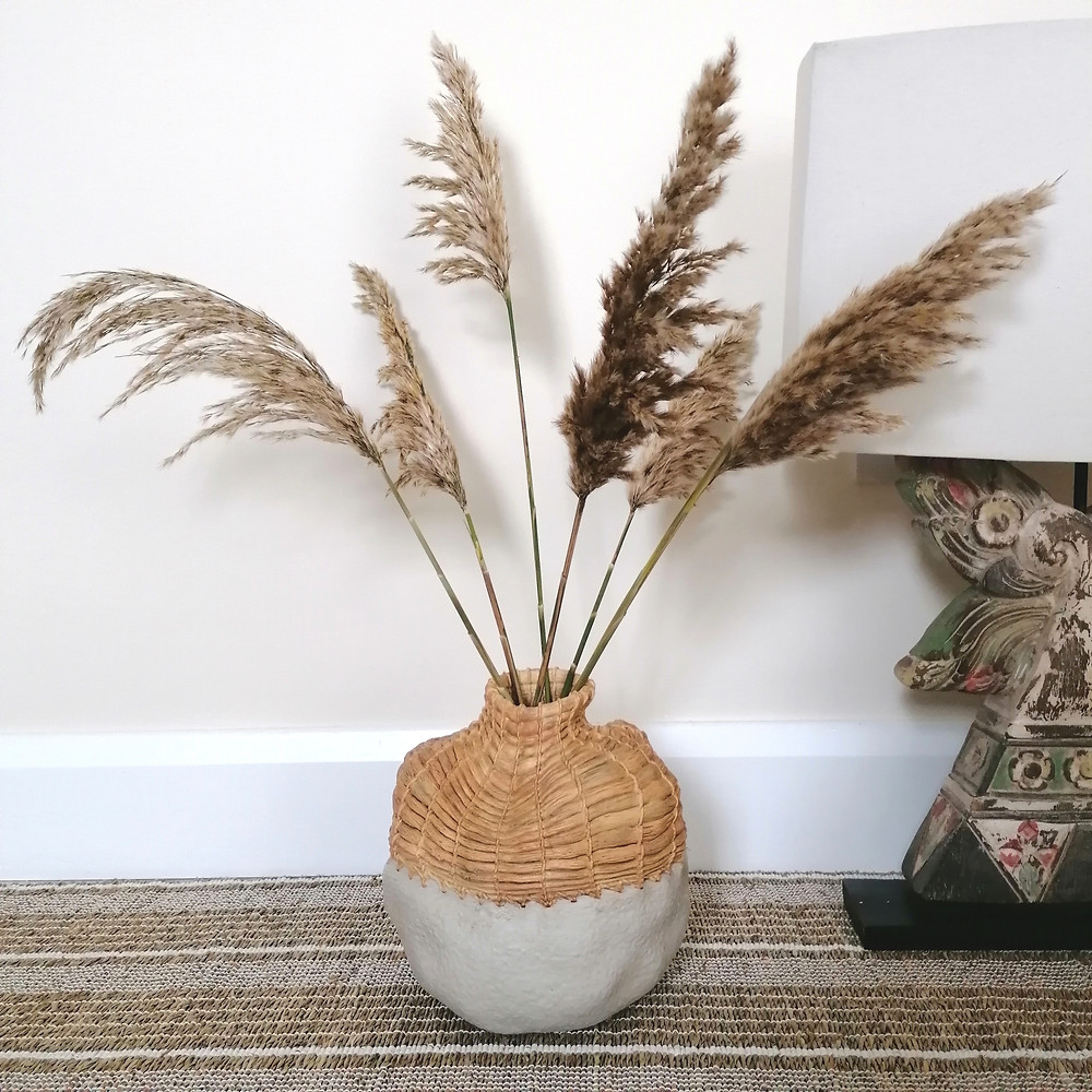 ivory pampas grass in handmade vase