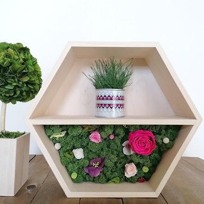 Floral hexagon shelf - pink rose