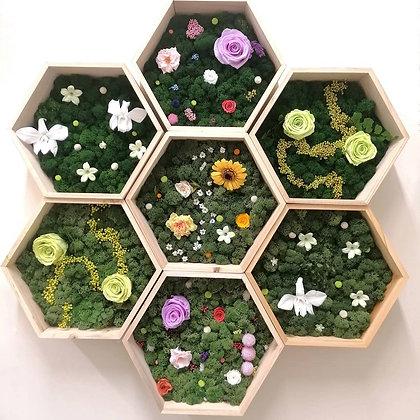 Floral garden hexagon