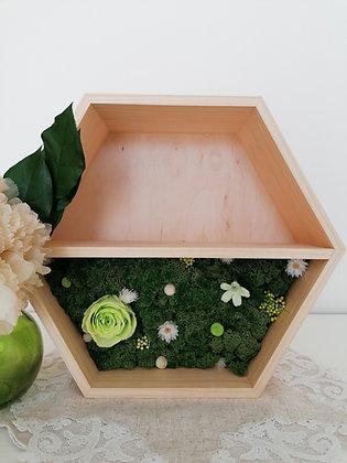 Floral hexagon shelf - green rose