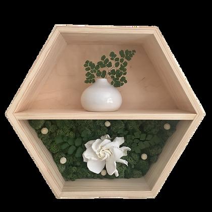 Floral hexagon shelf - gardenia