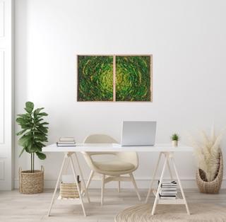 Home office moss art