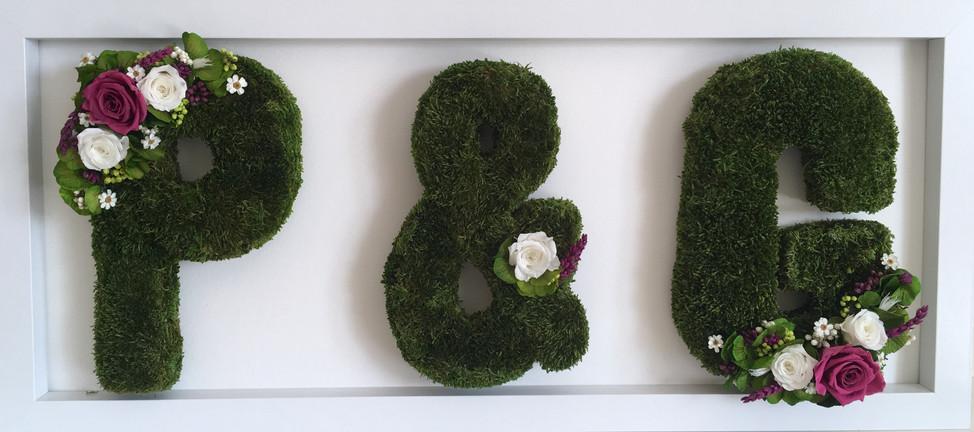 Framed moss initials - wedding