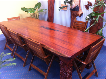 Natural Edge Jarrah Table with Carved Legs