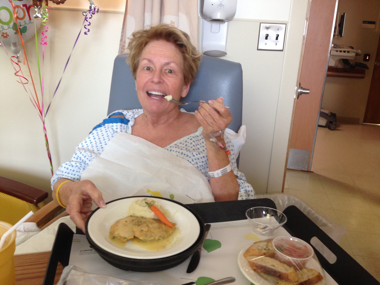 Mo eating a meal post-whipple surgery