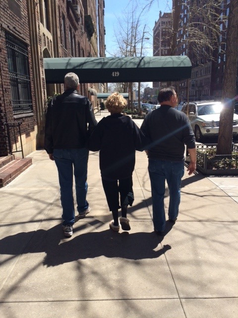 Walks in New York, post-Whipple  Left to right: Jeff (son), Mo, and Bill (fiancé) on their daily walks to help improve Mo's recovery!
