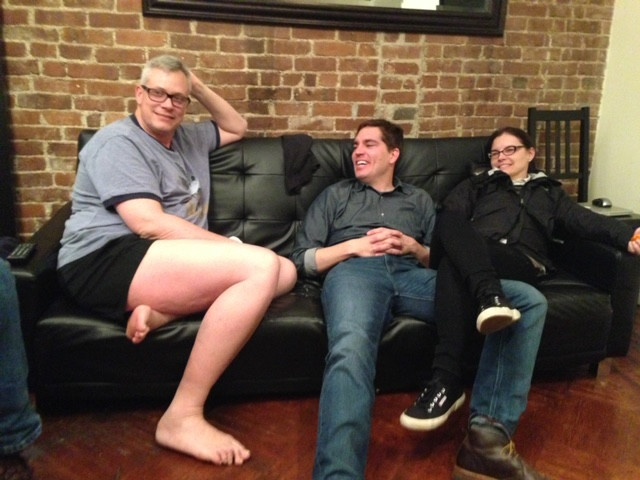 Left to right: Jim (Mo's son), Jason (Mo's son), and Jame (Mo's daughter-in-law) the night before the Whipple surgery.