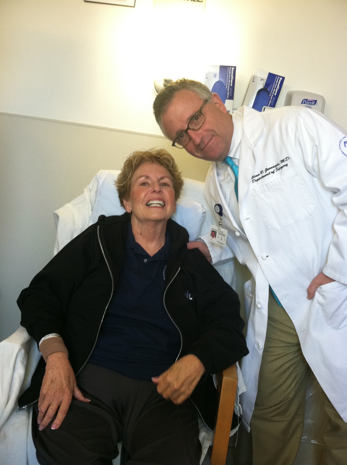 Mo and her surgeon, Dr. Jarnagin  With Dr. William Jarnagin, leaving Sloan Kettering after Whipple surgery.