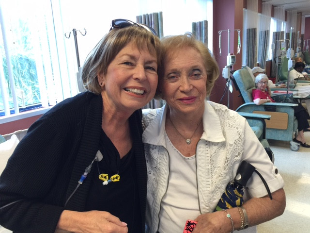 Mo and Harriet: Last day of chemo, October 21, 2014. With my chemo Friend, Harriet. (Wearing one of my wigs.)