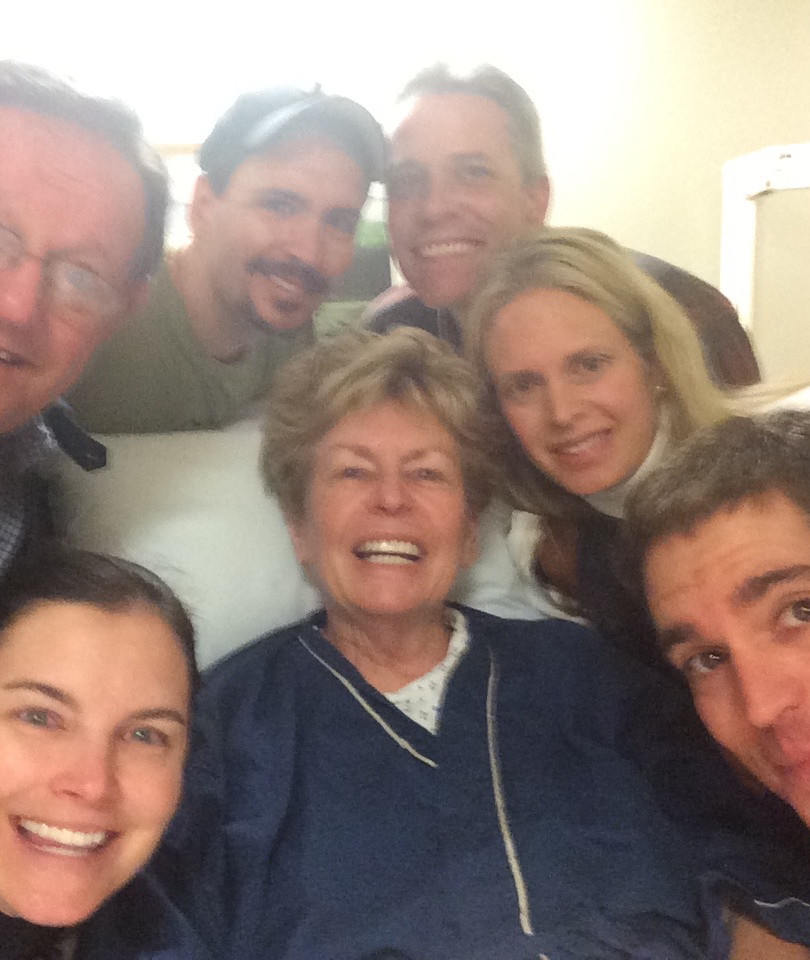 left to right, top to bottom: Bill (fiancé), Kenny (son), Jeff (son), Mo, Kerry (daughter), Jamie (daughter-in-law), and Jason (son) with Mo before her Whipple surgery at Memorial Sloan Kettering in New York City.