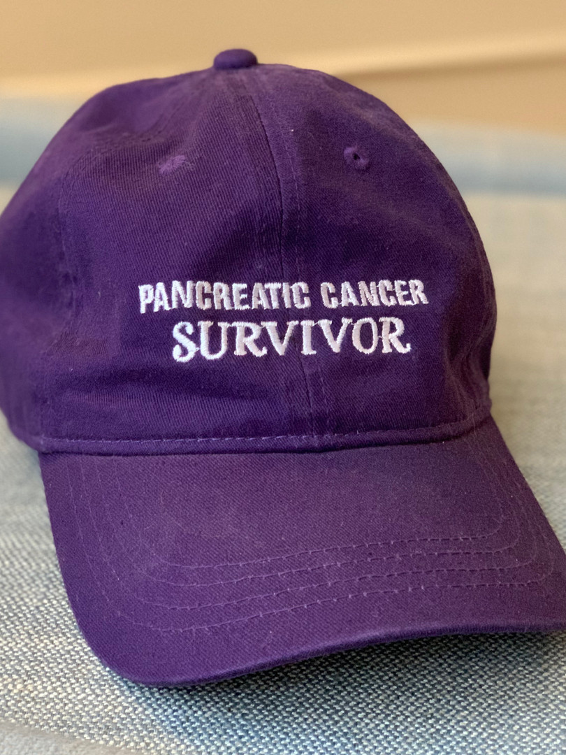 Mo's Pancreatic Cancer survior hat though you now know she doesn't believe she 'survived' pancreatic cancer, just navigated it.