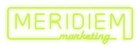 """Bright lime green logo with """"Merediem"""" in all-caps with a border around it and """"marketing"""" in cursive as part of the border, all fashioned like a neon sign."""