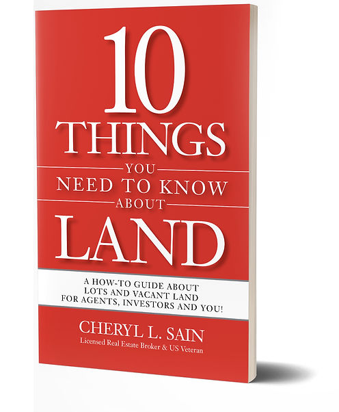 """""""10 Things You Need to Know About Land"""" by Cheryl Sain book cover."""